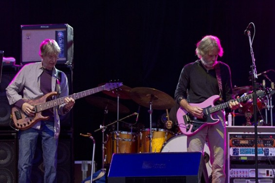Furthur's Phil Lesh (left) and Bob Weir (right) performing at Outside Lands in S.F.