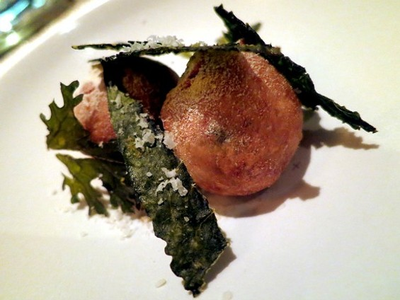 Garden beignets filled with warm cheese at Manresa. - THE DAPPER DINER