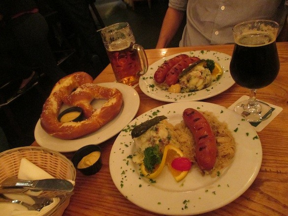 Garlic Bratwursts and Giant Soft Pretzel at Gourmet Haus Staudt in Redwood City. - TREVOR FELCH