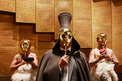 Generation P is about many things including, apparently, people wearing gold masks in the room where they keep the Ten Commandments.