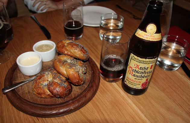 German Beer and Fresh-Baked Pretzels at Schroeder's - BRAD JAPHE