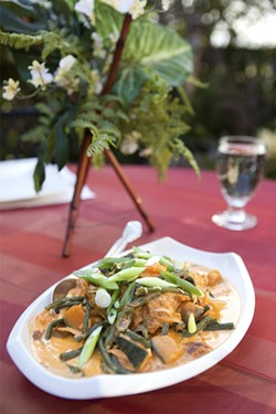 KIMBERLY SANDIE - Ginataang, a coconut-milk stew with pumpkins and long beans.