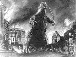 Godzilla expresses his frustration at BART's - tardiness.