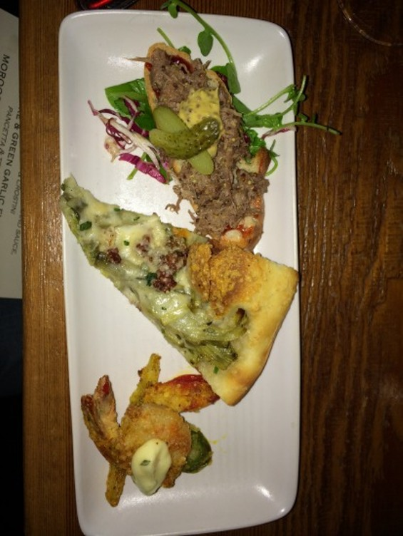 Goose rillettes, artichoke and green garlic flatbread, and Moroccan fritto misto at the Vestry. - PETE KANE