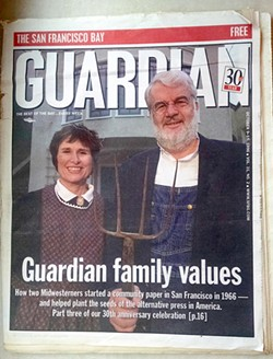 Guardian founders Jean Dibble and Bruce Brugmann grace its Oct. 9, 1996 30th Anniversary issue.