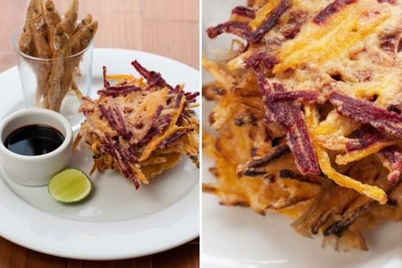 Hapa SF's ukoy, beet and mackerel fritters. - JUN BELEN/HAPA SF
