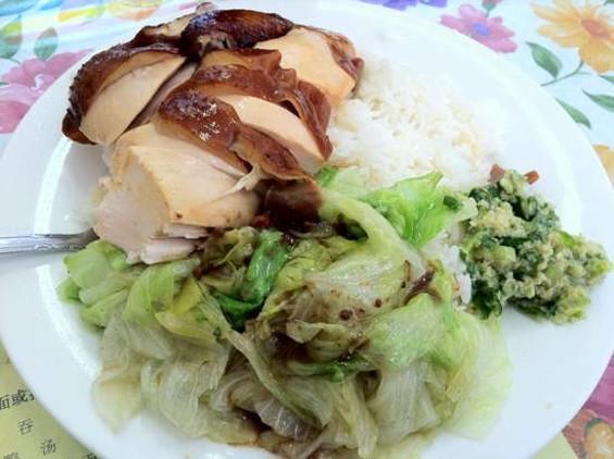 Happy Bakery's soy sauce chicken plate, $6. - JONATHAN KAUFFMAN