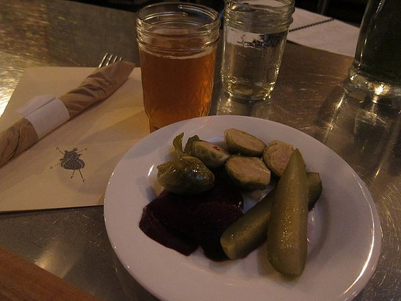 Heart's pickle plate includes beets and Brussels sprouts. - CARINA OST