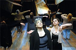 DAVID ALLEN - Hecuba (Carla Spindt, center) looks up to the gods for help.