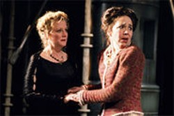 Hedda (Ren Augesen) and Mrs. Elvsted (Finnerty Steeves) react to shocking news.