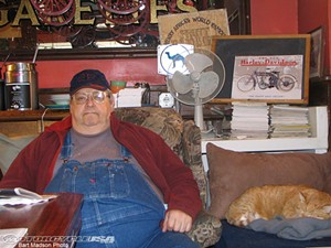 Henry Africa, seen here with Mr. Higgins, has left the building - BART MADSON, MOTORCYCLE USA.COM