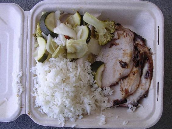 Hoisin pork special with white rice and steamed veggies, $7.95. - JOHN BIRDSALL