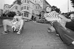 PAOLO  VESCIA - Horowitz (left) and Brumit ride Big Wheels down - Lombard Street.