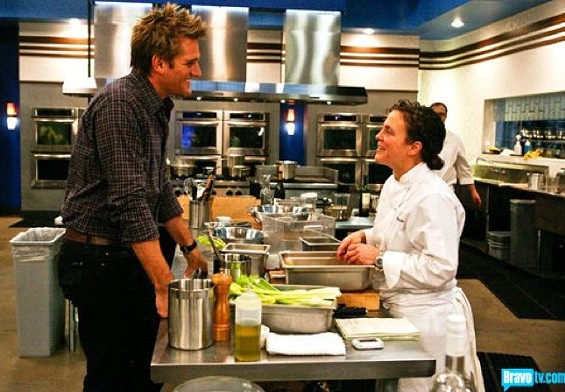Host Curtis Stone checks in with San Francisco finalist Traci Des Jardins. - BRAVO TV