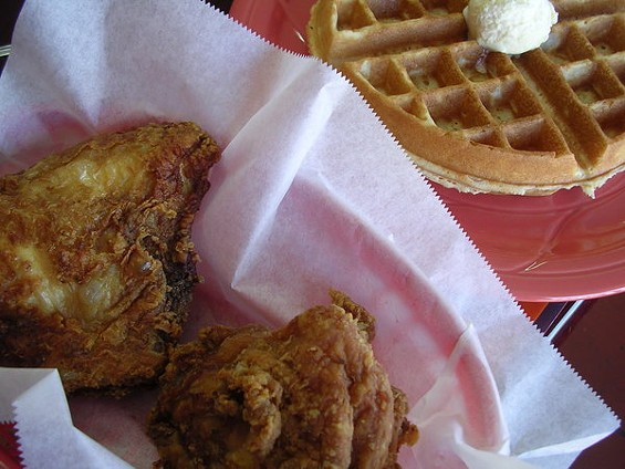 House Special two-piece fried chicken and waffle ($5.99, $1 extra for the breast). - JOHN BIRDSALL