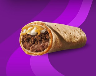 "How the Beefy 5-Layer Burrito is supposed to look ― note the plush layer of craggy-looking ""taco meat."" - TACO BELL"