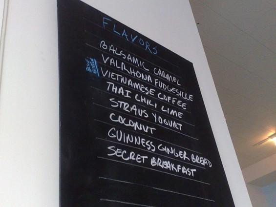 Humphry Slocombe's menu board. - TAMARA PALMER
