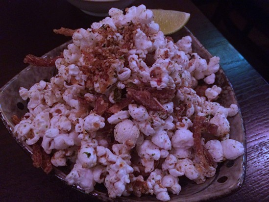 Hurricane popcorn with pig ears. - PETE KANE