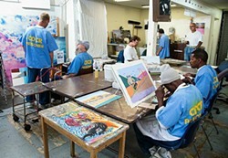 COURTESY OF PETER MERTS AND YBCA - Inmates work at the San Quentin Prison Arts Project.