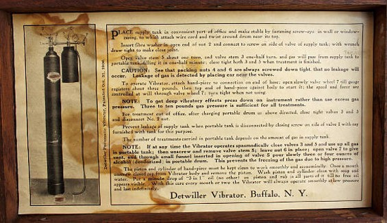 Instructions on the inside lid of the Detwiller Vibrator's case