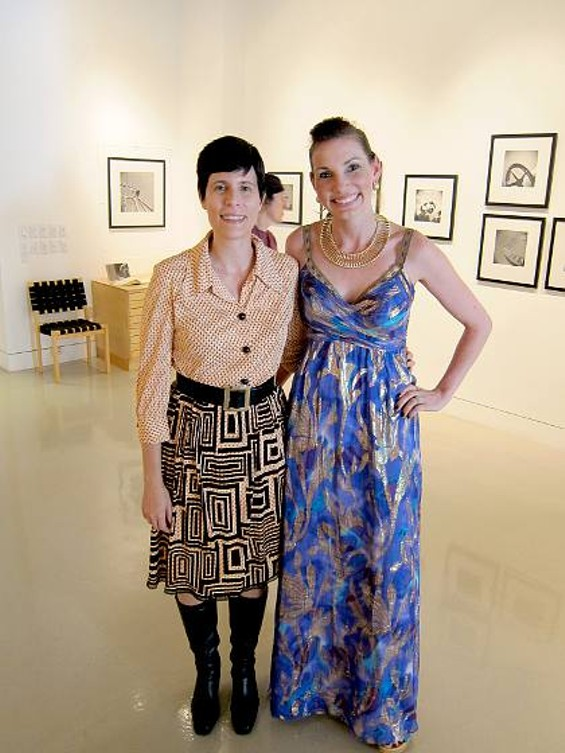 "Isa Leshko (left) stands with Ashley Adams at Cordon Potts Gallery, where Leshko's exhibit ""Thrills and Chills"" opened."