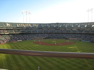 "It's home ""crowds"" like these, in a stadium with all the charm of botulism that spurred Oakland A's owner Lew Wolff to seek greener pastures"