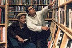Jack Kerouac (Michael Janes) and Allen Ginsberg - (Liam Vincent) marvel over the written word in - Visions of Kerouac.