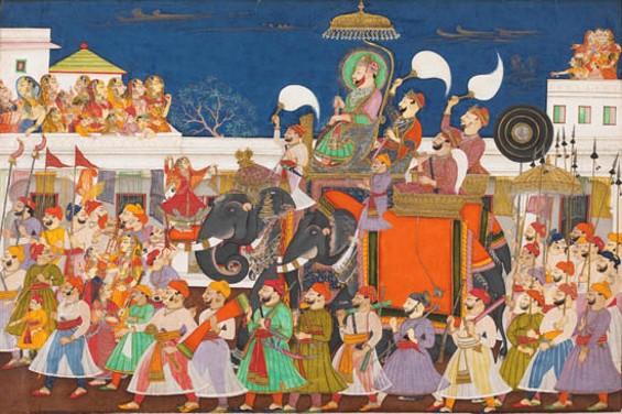 Jagat Singh II of Mewar and his Rani celebrating Teej, 1770