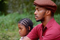 Jamara Griffin and Anthony Mackie: temporary surrogate fatherhood.