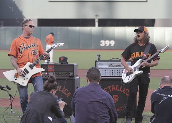James Hetfield and Kirk Hammett performing the national anthem. - CHRISTOPHER VICTORIO