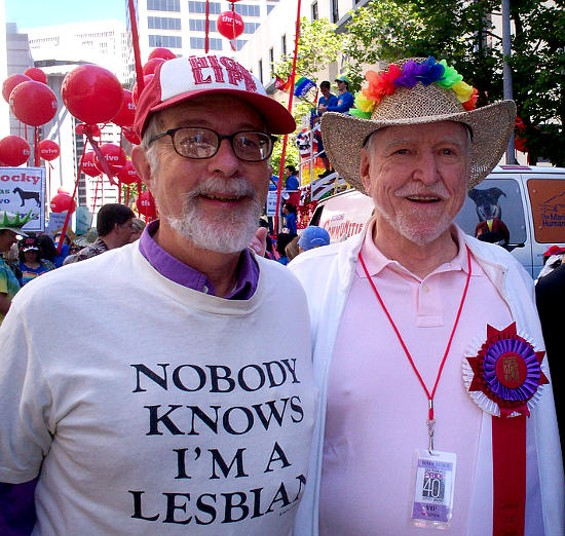 James Hormel (right) was the lifetime achievement grand marshal in the 2010 pride parade. - STRANGEDEJIM / FLICKR