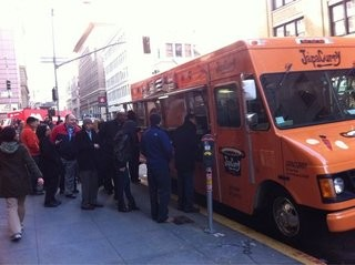 JapaCurry's lunchtime line at Mission and New Montgomery. - SONYA T./YELP