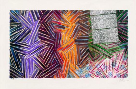 Jasper Johns, Between the Clock and the Bed, 1989; color lithograph, ed. 35/50; 26 1/4 x 40 1/4 in. (66.7 x 102.2 cm) - COLLECTION OF HARRY W. AND MARY MARGARET ANDERSON; © JASPER JOHNS AND ULAE/LICENSED BY VAGA, NEW YORK, NY
