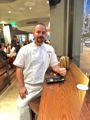 Jasper's executive chef, Adam Carpenter, has a sausage bite
