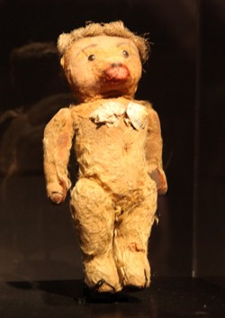Jean Paul Gaultier's childhood teddy bear models his first-ever cone bra. - KATE CONGER