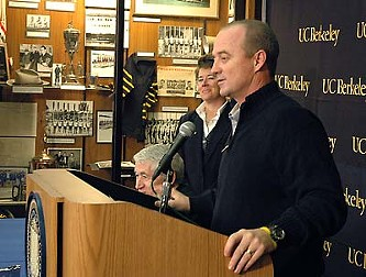 Jeff Tedford, seen here in 2009 announcing an extension today cut short - STEVE MCCONNELL