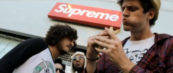 Jeremy Burke (with taco) making a cameo in front of Supreme