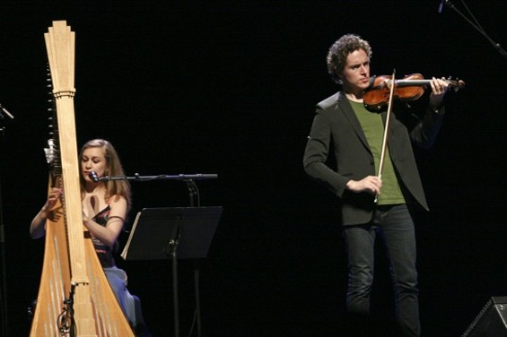 Joanna Newsom and Tim Fain at the Warfield. - CHRISTOPHER VICTORIO