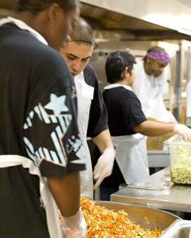 Job trainees in the Meals for Change kitchen. - LIFE BEGINS @ 30