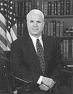 John McCain, doing one of his Nixon impressions.