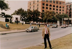 Joseph McBride in Dealey Plaza on Nov. 22, 1983, the 20th anniversary of the Kennedy assassination.
