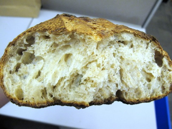 Josey Baker's ginger-rosemary bread, baked in the Pizzaiolo ovens. - JONATHAN KAUFFMAN
