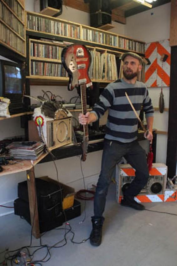 Josh Short: A radio pirate brandishes his weapon.