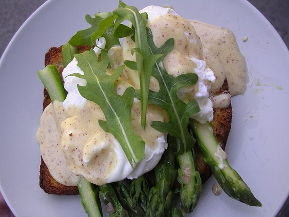 Jumbo Asparagus open-face sandwich with slow-poached egg and Meyer lemon mousseline ($6). - JOHN BIRDSALL