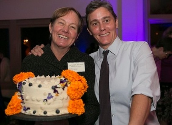 Karen Hester (left) with partner Chris Dunaway of Here Comes the Bride, long-time activists in the queer and feminist movement