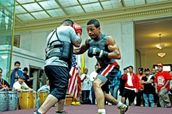 "JUAN PARDO - Karim ""Hard Hitta"" Mayfield spars at City Hall on March 20"