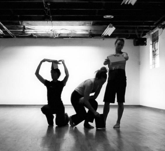 Karla Quintero, Emily Baumann, and Carly Johnson (L to R) rehearsing in the Temescal Art Center