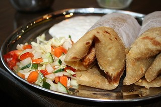 Kasa's turkey kati rolls could soon be taking to the streets. - CAROLYN ALBURGER