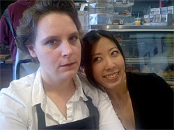 DAN WILSON - Kate Austin-Gröen (left) plays the bitchy barista; Alexis Wong is her perky co-worker.