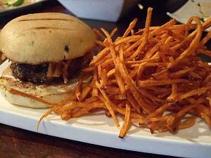 Kim chee mini-burger and sweet potato shoestrings. - T. PALMER